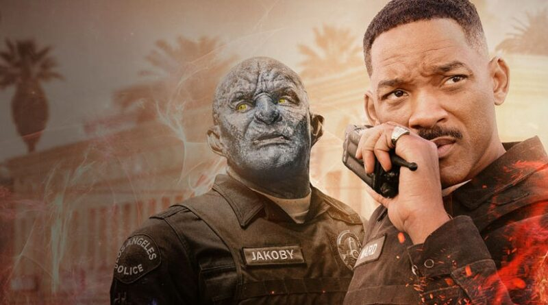 Poster of Netflix's original production, 'Bright' (2017) starring Will Smith & Joel Edgerton directed by David Ayer